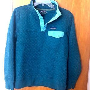 Patagonia Cotton Quilt 1/4 Zip Aqua/light blue